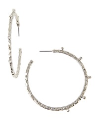 Rj Graziano R.J. Graziano Textured Crystal Hoop Earrings
