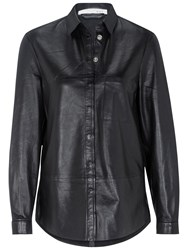 Oui Leather Shirt Black