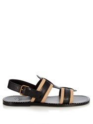 Tomas Maier Contrast Leather And Canvas Sandals Black Multi