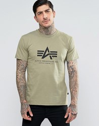Alpha Industries T Shirt With Logo In Regular Fit Olive Gr1 Green 1