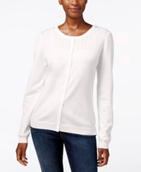 Karen Scott Petite Pointelle Cardigan Only At Macy's Silk White