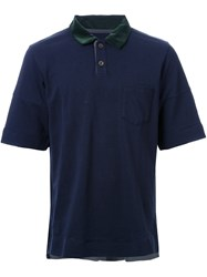 Sacai Velvet Collar Polo Shirt Blue