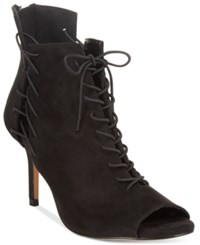 Chelsea And Zoe Kira Lace Up Peep Toe Booties Women's Shoes Black