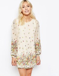 Yumi Border Print Long Sleeve Shift Dress Cream
