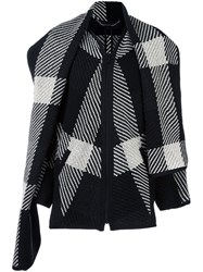 Barbara Bui 'Checks' Snood Collar Coat Black