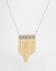 Asos Bead And Chain Long Pendant Necklace Gold