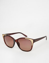 Esprit Cat Eye Gold Trim Sunglasses Brown
