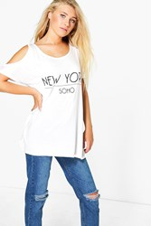 Boohoo New York Cold Shoulder Tee White