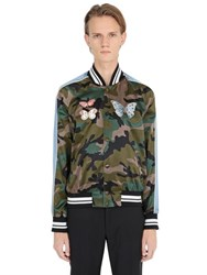 Valentino Butterfly Embroidery Satin Bomber Jacket