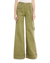 Rosie Assoulin Wide Leg Cuffed Stretch Woven Pants Army Green