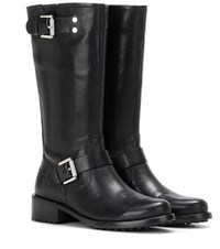 Calvin Klein Jeans Mytheresa.Com Exclusive Embellished Leather Biker Boots Black