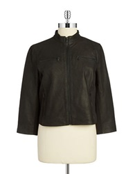 T Tahari Reece Leather Jacket Black