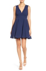 Tfnc Women's V Neck Fit And Flare Dress