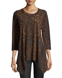 Chelsea And Theodore Printed Top With Shark Bite Hem Espresso B
