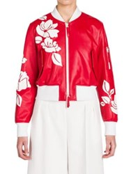Fendi Leather Applique Bomber Jacket Red White