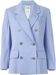 Celine Vintage Double Breasted Blazer Blue