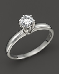 Bloomingdale's Diamond Solitaire Ring In Platinum .50 Ct. T.W. Silver