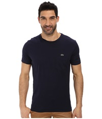 Lacoste Jersey Super Fine Pima Short Sleeve Crew Neck Tee Shirt With Pocket Navy Blue Men's T Shirt