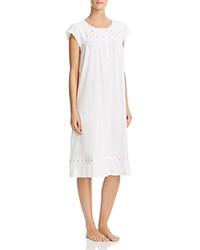 Eileen West Short Sleeve Short Nightgown White Ground Multi Bud Embroidery