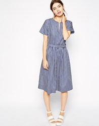 Antipodium Tulum Dress In Candy Stripe Blue