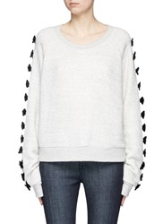 Tu Es Mon Tresor Ribbon Applique Cotton Sweatshirt Grey