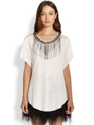 Ella Moss Chandelier Beaded Chain Fringe Tee Black
