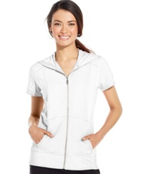 Style And Co. Sport Short Sleeve Zip Front Hoodie Bright White