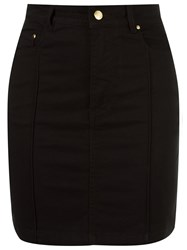 Amapo High Waist Fitted Denim Skirt Black