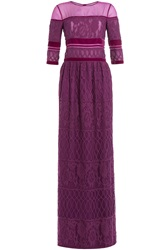 Alberta Ferretti Floor Length Dress With Lace Purple