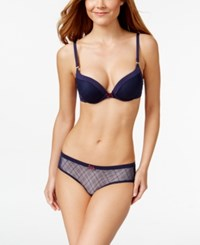 Tommy Hilfiger Plaid Mesh Push Up Bra R72t017