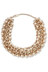 Valentino Gold Tone Faux Pearl And Crystal Necklace