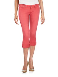 True Religion Rolled Cropped Jeans Faded Red