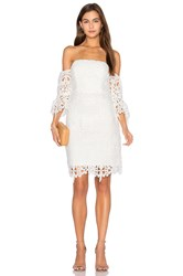 Lumier Painted On My Heart Flare Sleeve Dress White