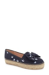 Women's Kate Spade New York 'Linds' Bow Espadrille Navy Swallow Print Canvas