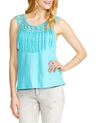 Jessica Simpson Tae Braided Neck Fringe Trim Tank Top Blue