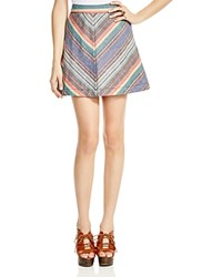 Free People Yours Truly Chevron Mini Skirt Red Combo