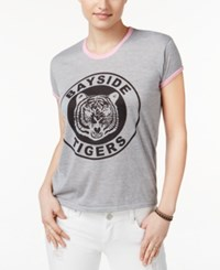 Mighty Fine Juniors' Bayside Tigers Graphic Ringer T Shirt Heather Grey