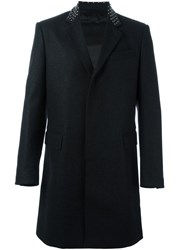 Les Hommes Long Studded Collar Coat Black