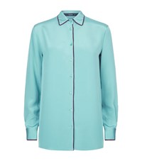 Etro Velvet Trim Silk Shirt Female Green