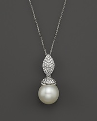 Bloomingdale's 14K White Gold Cultured White South Sea Pearl And Diamond Pendant Necklace 18