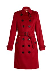 Burberry Sandringham Long Cashmere Trench Coat Red