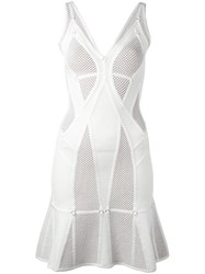 Herve Leger Perforated Flared Dress White