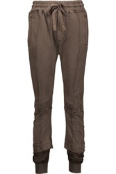 Haider Ackermann Layered Cotton Jersey And Twill Tapered Pants Army Green