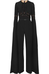 Elie Saab Embellished Lace Paneled Crepe Jumpsuit Black