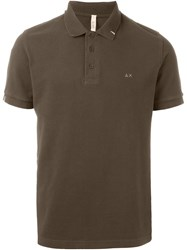 Sun 68 Embroidered Logo Polo Shirt Brown