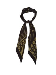 Rockins Print Super Skinny Silk Scarf Black Gold