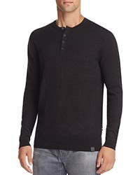 Superdry Orange Label Cotton Cashmere Grandad Henley Sweater Charcoal Black Twist