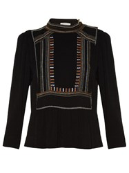 Etoile Isabel Marant Cerza Embroidered High Neck Top Black Multi