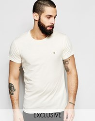 Farah T Shirt With F Logo Slim Fit Exclusive Cream
