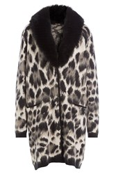 Roberto Cavalli Fleece Wool And Mohair Cardigan Coat Multicolor